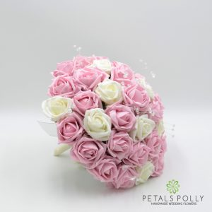 Baby pink and ivory foam rose brides bouquet