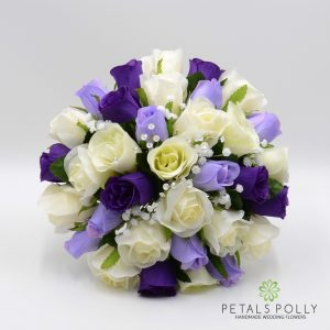 silk purple lilac and ivory brides bouquet