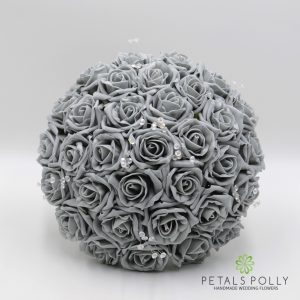 Grey foam rose brides posy