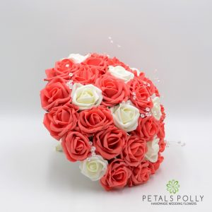 Coral and ivory artificial brides bouquet
