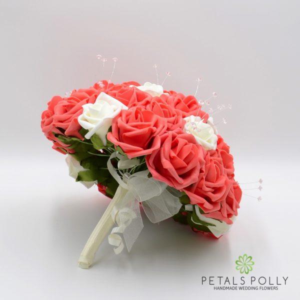 Orange Coral & Ivory Rose Brides Posy