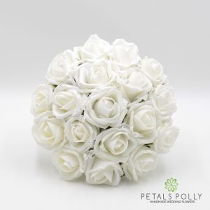 white foam rose bridesmaids bouquet
