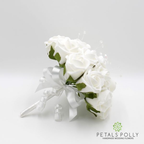 White Foam Rose Bridesmaids Posy with Crystal Stems