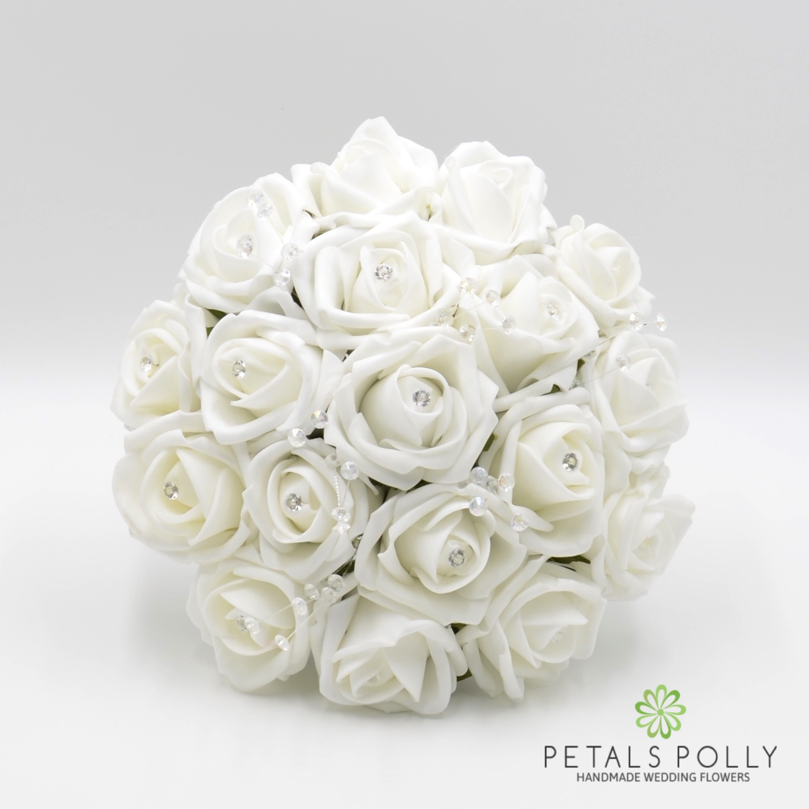White Foam Rose Bridesmaids Posy With Crystal Stems Diamant Rose