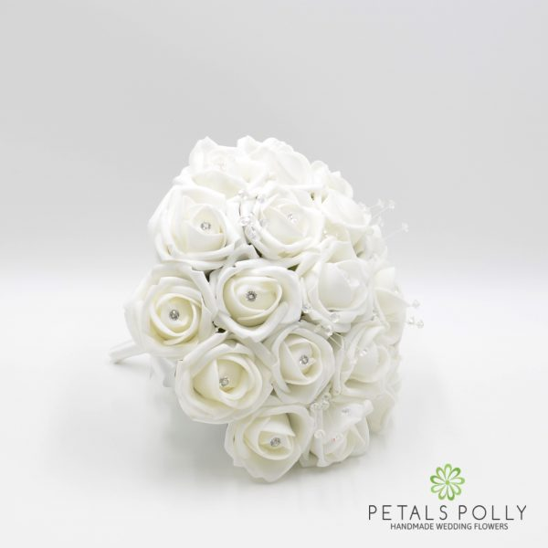 White Foam Rose Bridesmaids Posy with Crystal Stems & Diamanté Rose Centres