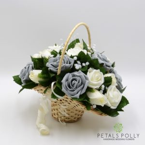 Grey & ivory rose silk flower girl basket