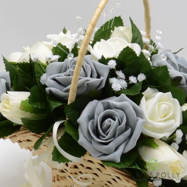 Grey & Ivory Rose Flower Girl Basket