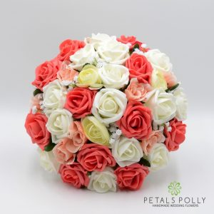 Coral peach ivory artificial brides bouquet