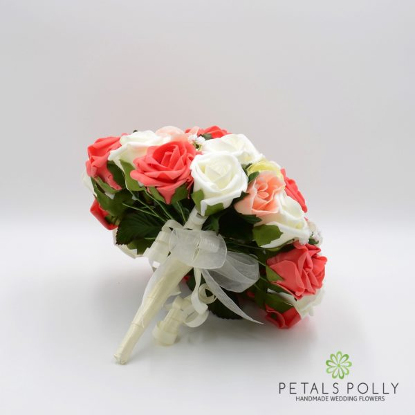 Coral, Peach & Ivory Rose Brides Posy with Ranunculus
