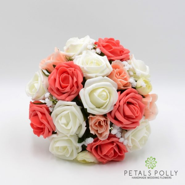 Coral, Peach & Ivory Rose Bridesmaids Posy with Ranunculus