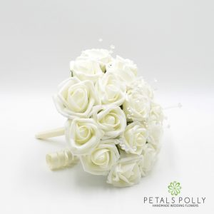 ivory foam rose bridesmaids bouquet
