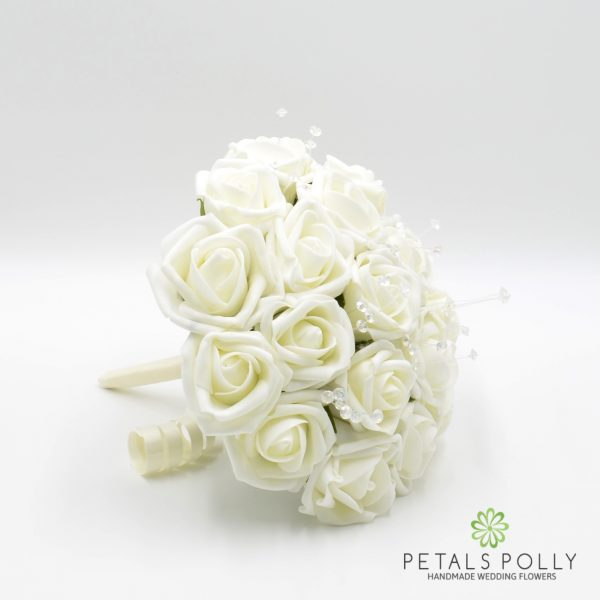 Ivory Foam Rose Bridesmaids Posy with Crystal Stems