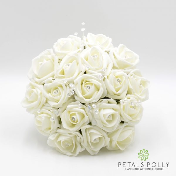 Ivory Foam Rose Bridesmaids Posy with Crystal Stems & Diamanté Rose Centres