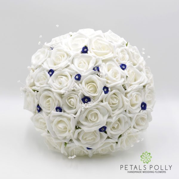 White Rose Brides Posy with Navy Blue Diamanté Ribbon Roses and Crystal Stems