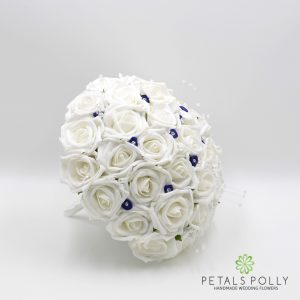 navy blue and white foam rose brides bouquet