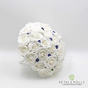navy blue and white foam rose brides bouquet
