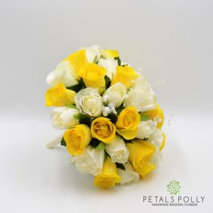 yellow and ivory silk brides posy bouquet