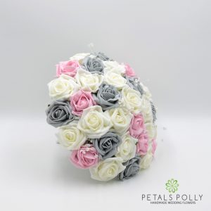Grey baby pink ivory foam rose brides bouquet