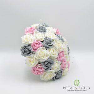 Grey baby pink ivory foam rose brides bouquet