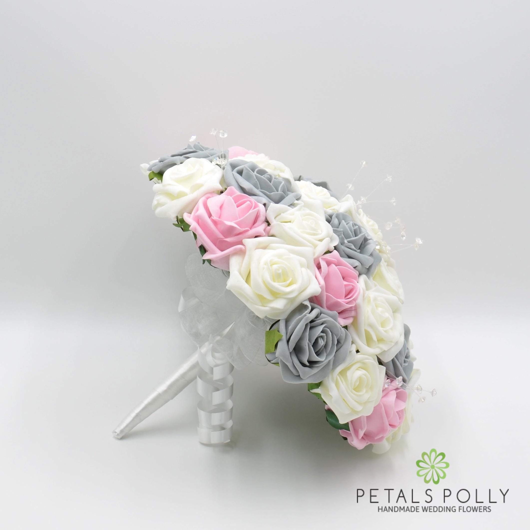 Grey baby pink ivory rose brides posy grey baby pink ivory rose brides posy mightylinksfo
