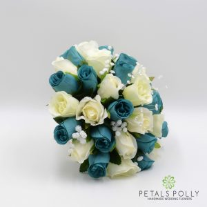 teal and ivory silk brides posy bouquet