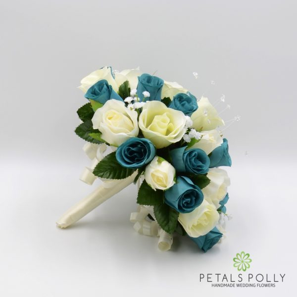 Teal & Ivory Rose Brides Posy