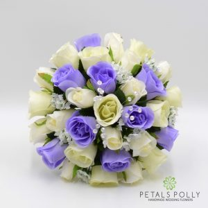 Lilac and ivory silk rose brides bouquet