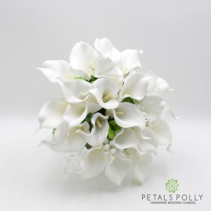 ARTIFICIAL IVORY WHITE LILY BRIDES POSY
