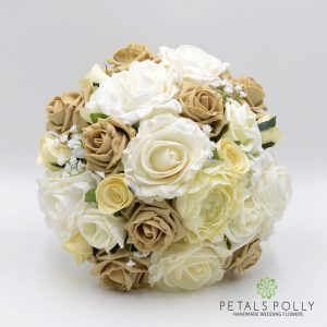 Cappuccino and ivory brides posy artificial roses, ranunculus