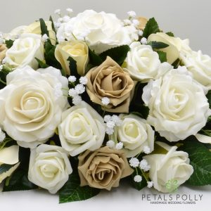 Cappuccino & Ivory Rose Top Table Decoration with Ranunculus