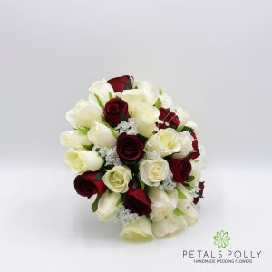 Burgundy and ivory silk rose brides bouquet