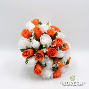 Orange and white rose silk brides posy
