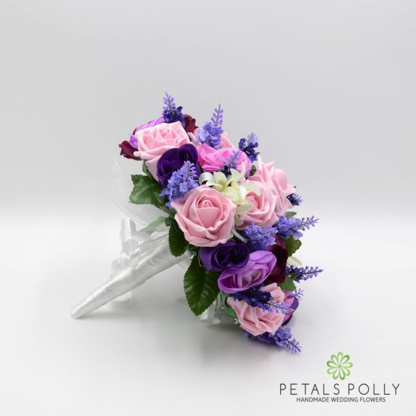 Purple & Antique Pink Rose Brides Posy with Ranunculus & Lavender
