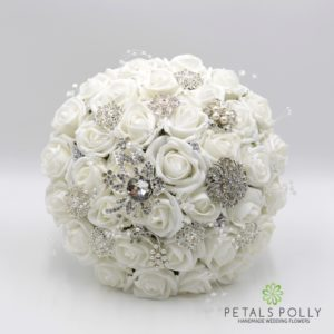 White Rose Brides Posy with Diamanté Brooches, Pearl Stems and Crystal Stems