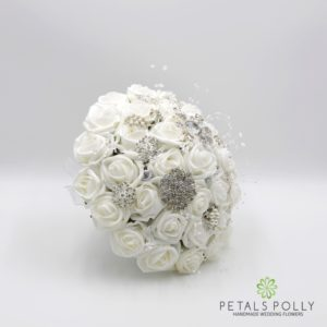 white foam brides brooch bouquet