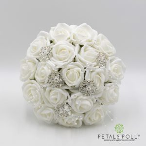 white foam rose bridesmaids posy brooches pearls
