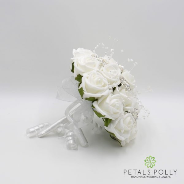 White Rose Bridesmaids Posy with Brooches, Pearl Stems & Crystal Stems