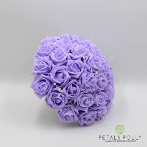 Lilac foam rose brides bouquet