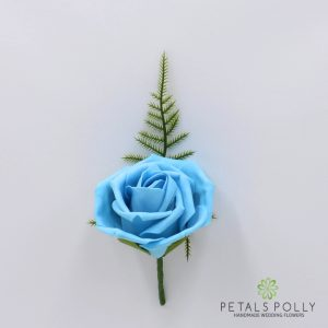 Aqua foam rose buttonhole