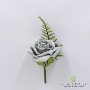 Grey foam rose buttonhole