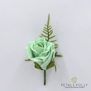 Mint Green foam rose buttonhole