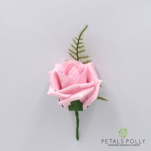 Antique pink foam rose buttonhole