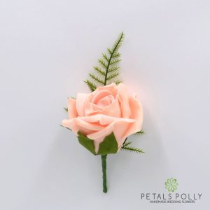 Peach foam rose buttonhole