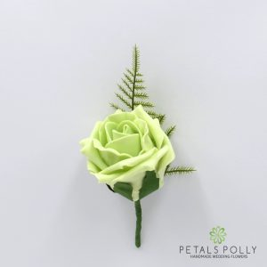 Pistachio foam rose buttonhole
