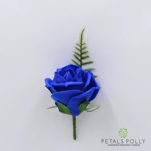 Royal blue foam rose buttonhole