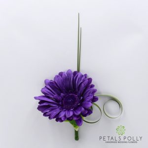Silk purple gerbera buttonhole