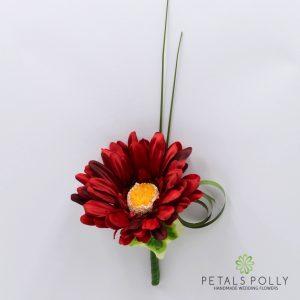 Silk burgundy gerbera buttonhole