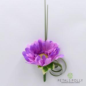 Silk lilac gerbera buttonhole