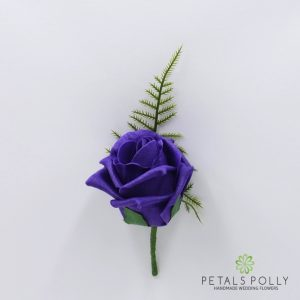 Cadbury Purple foam rose buttonhole