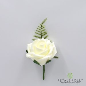 Ivory foam rose buttonhole